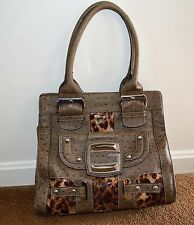 Guess Kalina Jungle Faux Ostrich & Snake Skin Purse Handbag Satchel