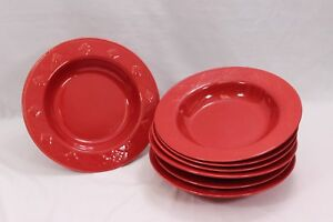 Home-Target-Rim-Soup-Bowls-Embossed-Diamonds-Red-10-25-034-Set-of-7