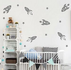 Rocket Wall Stickers Stars  style Art  Home Decor kids room Super Big Set