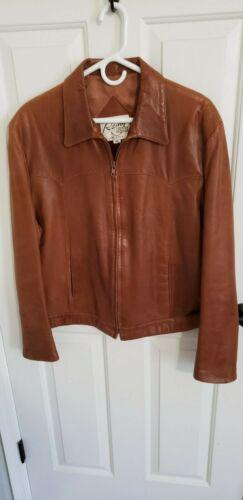 Used Vintage Tan Leather jacket Unisex sz 46
