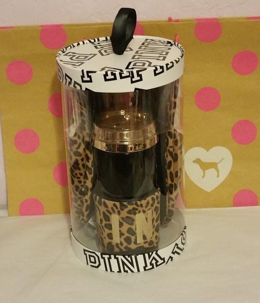 Victoria's Secret PINK Coffee Cup Slippers Sleep Eye Mask Gift Set MEDIUM NIP