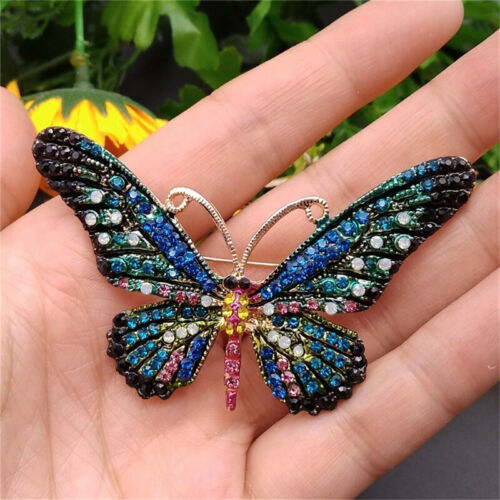 Vintage Animals Large Brooch Lapel Pin Enamel Insects Butterfly Jewelry T