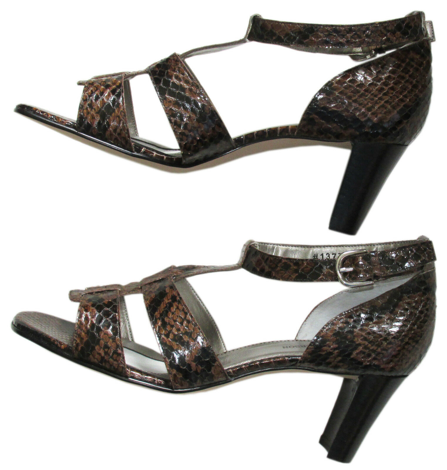 Snakeskin Snakeskin Snakeskin Ros Hommerson Black & Brown Stack Heel Sandals  7WW New 418f01