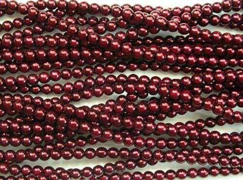Rouge sang BORDEAUX CZECH GLASS Round Perles-Collier de 110 Perles 4 mm