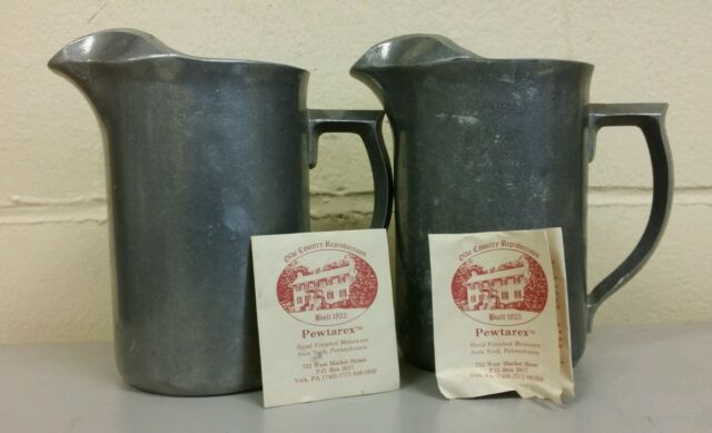 2 Pewtarex Water or Beer Pitchers Olde Country Reproductions York Pa Food Safe