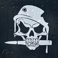 Army Skull Bullet In Military Helmet With Shot Hole Car Decal Vinyl Sticker