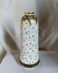"""Kinkozan,Japan Satsuma vase. Meiji period. Dogwood blossoms, pastel colors. 12"""""""