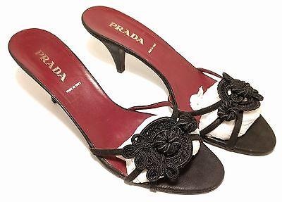 PRADA Women's Black Needlework Flower Heels Italy Sandals US 10M