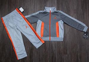 91a8d2b7c388e1 Air Jordan Toddler Boy 2 Piece Jogging Set~Tracksuit ~ Gray   Orange ...