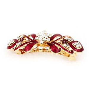 Damen-Kristallstein-Dekor-Blumen-Metall-Haar-Clip-Kralle-Haarspange-Rot-Gol-B5X6