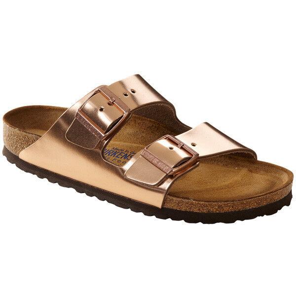 Cómodo y bien parecido Birkenstock arizona SFB cuero liso weichbettung zapatos 752723 ancho estrecho