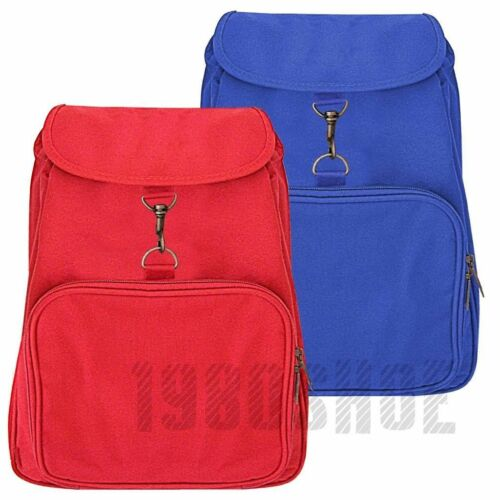 Traditional Canvas School Backpack Drawstring Closure Rucksack Work Red Blue