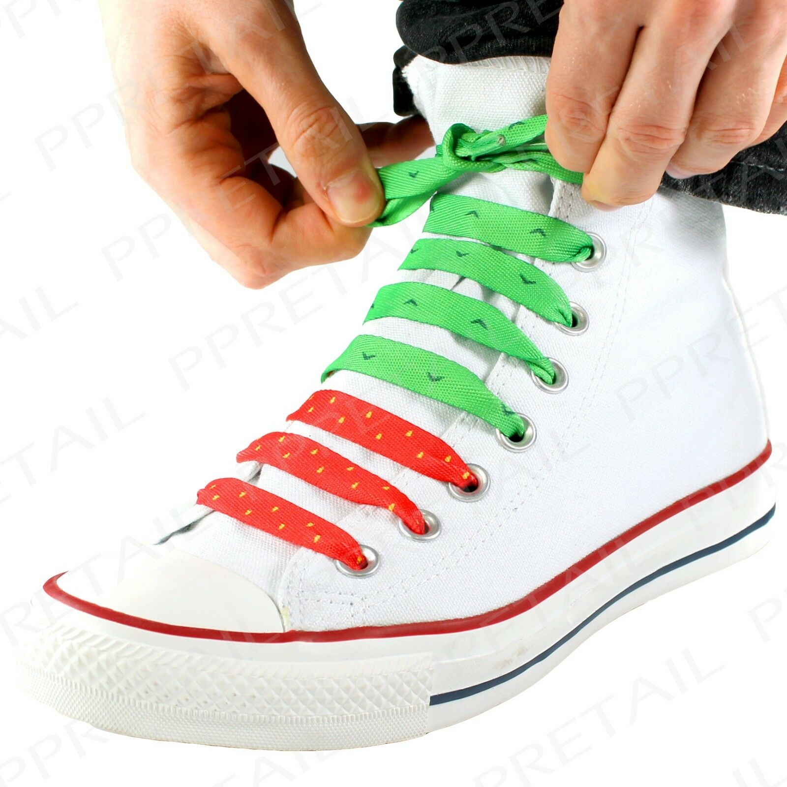 STRAWBERRY PATTERN Flat Shoelaces Red Colour Boot Shoe Fruit Design Trainer