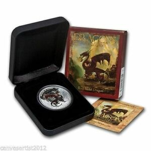 2012 $1 Red Welsh Dragon 1oz Silver Proof Coin Perth Mint