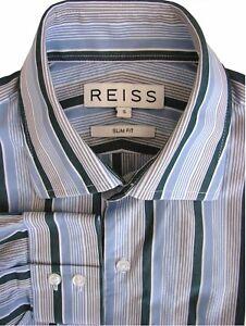 REISS-Shirt-Mens-14-5-S-Blue-Multi-Coloured-Stripes-SLIM-FIT
