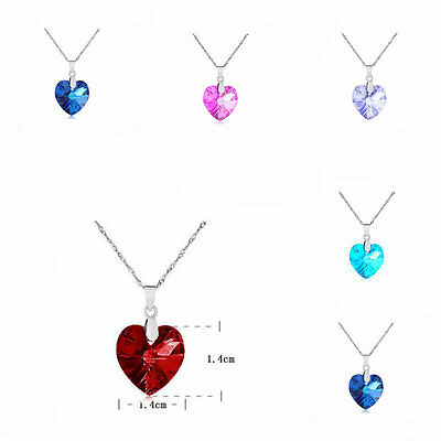 Charm Peach Silver Plated Heart Love Crystal Rhinestone Chain Pendant Necklace