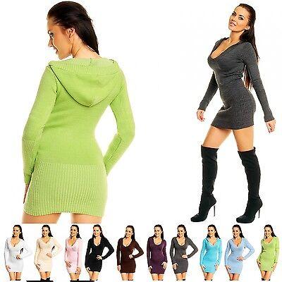 Zeta Ville - Women's Stretch Knitted Jumper Pullover Hooded Mini-Dress - 421z