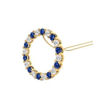 14k-Yellow-Gold-GP-2-00-Ct-Blue-Sapphire-and-Diamond-Circle-Pendant-18-034-Necklace