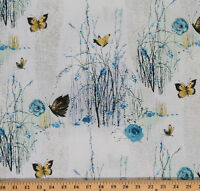 Dream Blossom Trees Butterflies Roses Cotton Fabric Print By The Yard D461.20