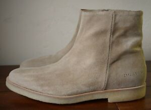 Details about NEW WITH BOX | COMMON PROJECT EU 45 US 12 TAN SUEDE SIDE ZIP ANKLE BOOT CHELSEA