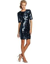 BCBG MAXAZRIA MARTA BLUE SEQUIN ELBOW SLEEVE PARTY COCKTAIL DRESS SZ LARGE NWT