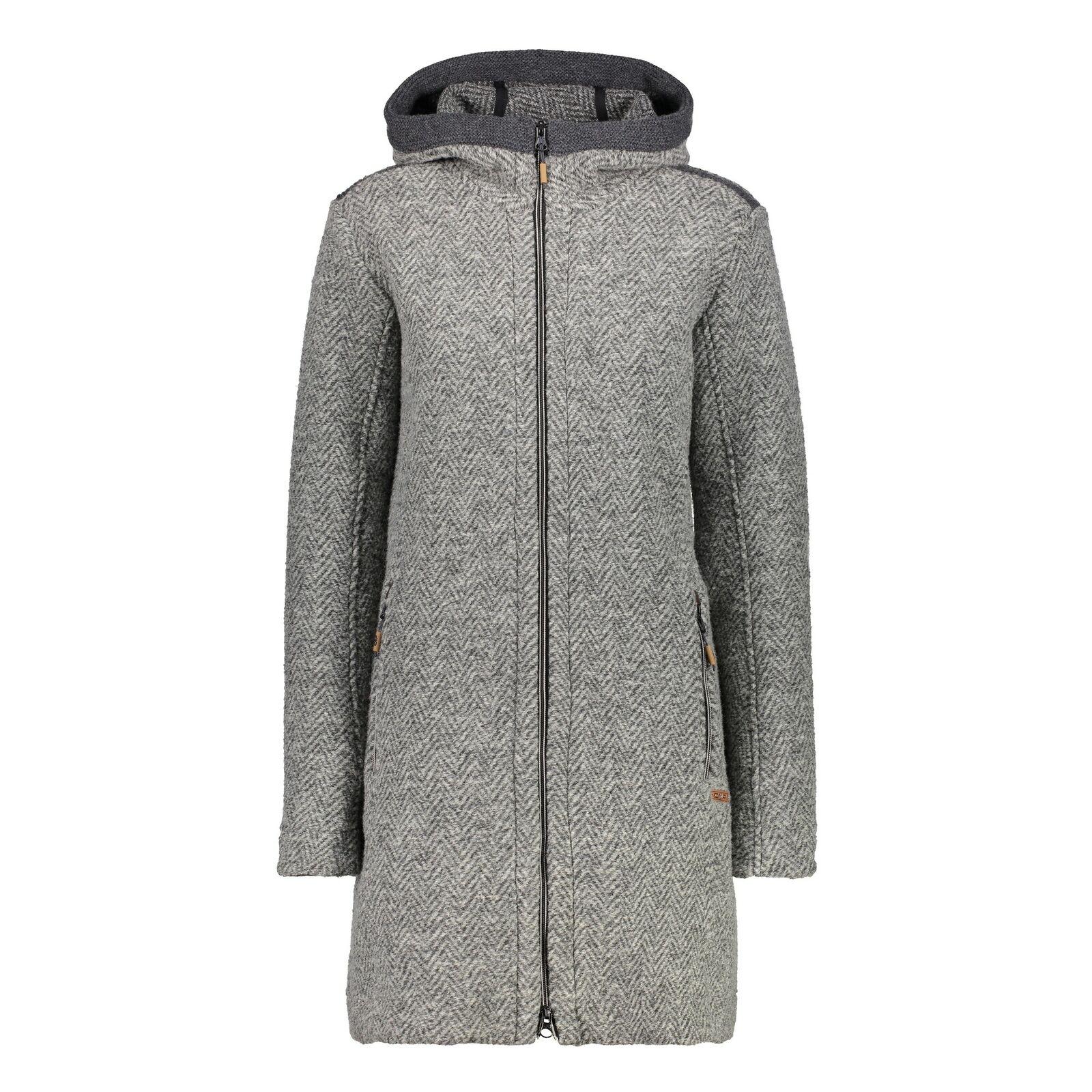 CMP Funktionsjacke Jacke WOMAN COAT FIX HOOD grau atmungsaktiv Wolle