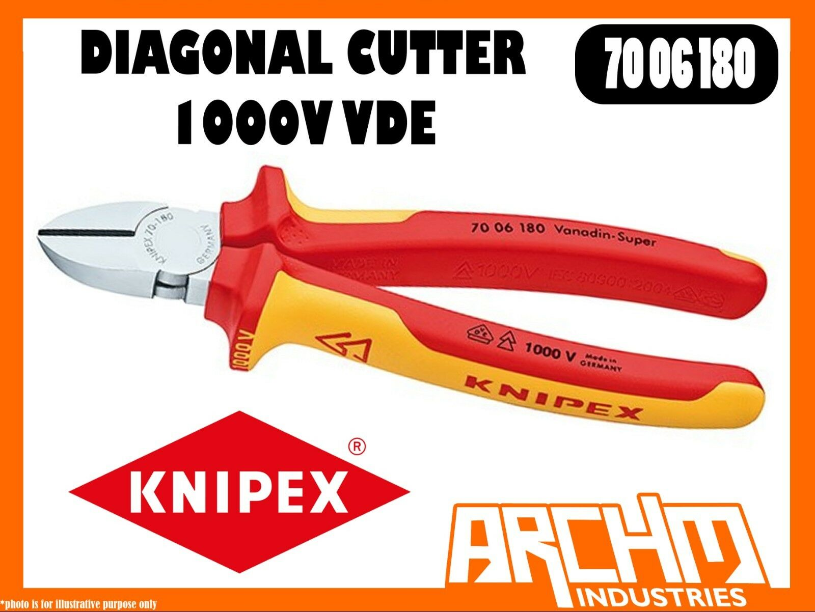 KNIPEX 7006180 - DIAGONAL CUTTER 1000 VDE 180MM CUTTING EDGES HARDENED PRECISION