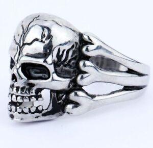 Bague pour Homme Biker Chevalière Tête De Mort Crâne Squelette Acier Ring Skull