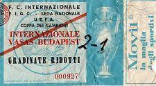 Ticket Inter Vasas Budapest 2-1  16-11-1966 ottavi European Cup Champions League