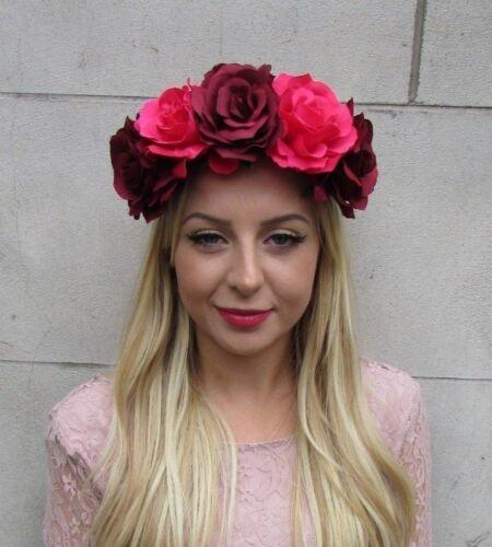 Large Hot Pink Burgundy Red Rose Flower Headband Sugar Skull Day of Dead 6308