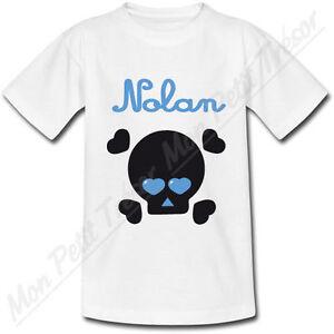 T-shirt-Enfant-Tete-de-Mort-Yeux-en-Coeur-Bleu-avec-Prenom-Personnalise