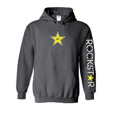 ROCKSTAR hoodie gildan S M L 1 2 3 4 5 XL  CHARCOAL NEW energy BMX extreme
