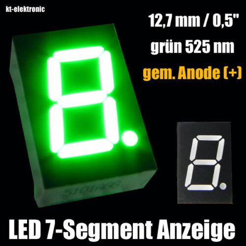 """+ anode 10 pièces LED 7-segment chiffres affichage 12,7mm 0,5/"""" vert 525nm GEM"""