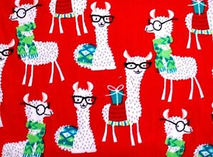 9b21c259b3 NEW BTY CHRISTMAS WHITE LLAMAS WITH GLASSES ON RED FLEECE FABRIC 1 ...