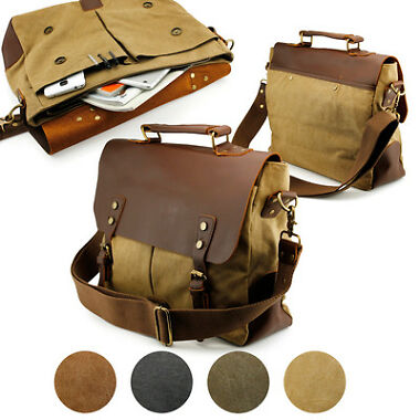 Vintage Style Mens School Messenger Bag