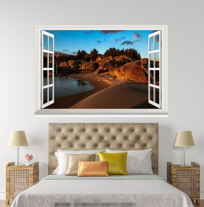 3D Sunset Road View 28 Open Windows WallPaper Wandbilder Wall Print AJ Jenny