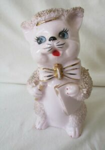 VINTAGE-Ceramic-Pink-Cat-Figurine-with-Gold-Trim-Hat-Pen-and-Paper-5in-T-Japan