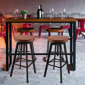 Retro-Dejeuner-Tabouret-de-bar-Cuisine-Chaise-de-repose-pieds-en-metal-marron