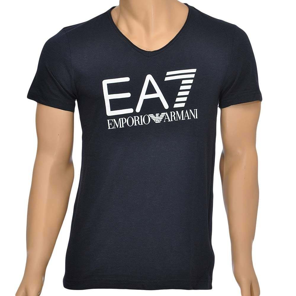 Ea7 EMPORIO ARMANI UOMO SEA WORLD Core Logo V-Neck T-shirt, Blu Navy Scuro Tee