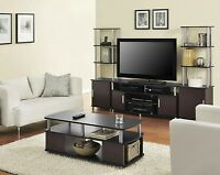 4 Piece Cherry Black Coffee Table Set Living Room Home Accent Furniture