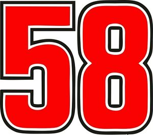Image is loading Stickers-number-58-Marco-simoncelli-15-CM-2-