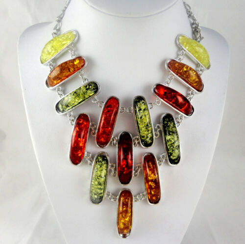 FASHION Precious Modernist amber Handmade Gemstone Jewellery Necklace C1
