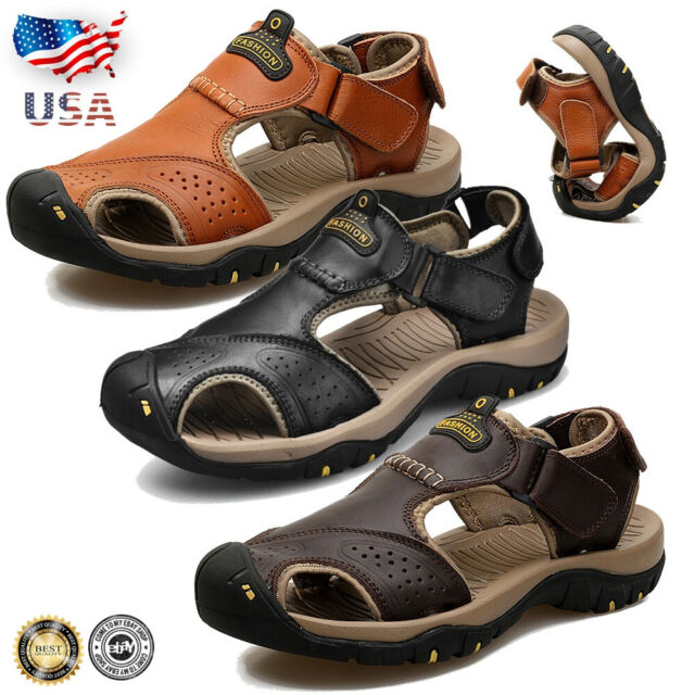 9c8271a6 Men Sports Closed Toe Water Sandals Outdoor Leather Casual Hiking Shoes  Summer