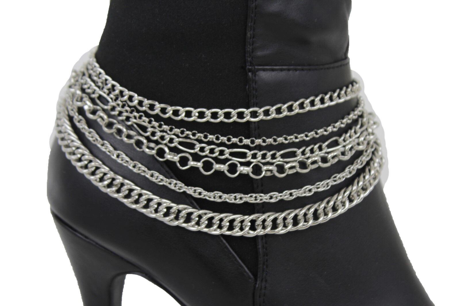 Sexy Women Boot Bracelet Silver Metal Chain Multi Strand Bling Anklet Shoe Charm