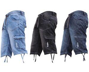 New-Mens-Cargo-Combat-Von-Denim-Dye-Chino-Shorts-Summer-Knee-Length-Holiday-Gym