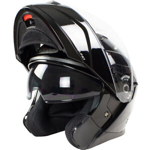 Nitro-F350-Noir-Brillant-avant-Basculable-Casque-Motocycle-Moto-Visiere