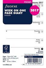 Filofax Pocket Size 2017  Week Per Page White Diary Insert Refill 17-68226