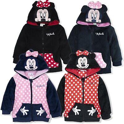 Disney Minnie Mouse Baby Girls Warm Jumper Hoodie Fleece Jacket 6 Months-3 Years