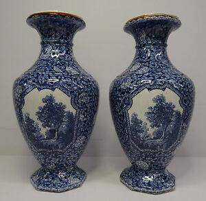 Antikes-Paar-Villeroy-amp-Boch-Mehlem-Bonn-Vasen-Flamand-Dekor-V-amp-B-Art-Deco-20er