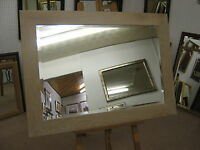 "NEW LARGE 3"" FLAT WHITE LIMED SOLID OAK FRAMED OVERMANTLE WALL MIRRORS"